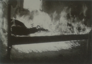 Non-Accelerated Test Burns Demonstrating Melting, Dripping, Pooling, and Burning of Melted Polyurethane Foam Mattress.